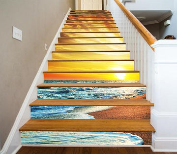 3D Bright Beach Sunset 1201 Stair Risers Wallpaper AJ Wallpaper