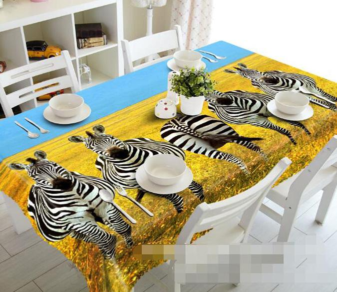 3D Autumn Grassland Zebras 1014 Tablecloths
