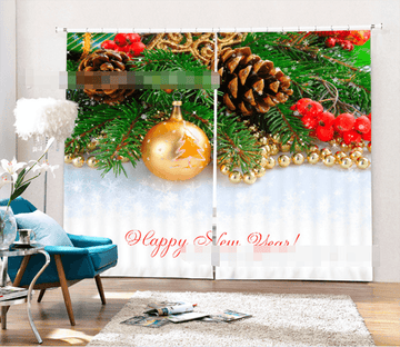 3D Christmas Tree Decoration 2046 Curtains Drapes Wallpaper AJ Wallpaper