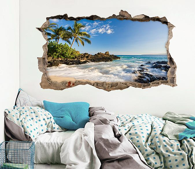 3D Sunny Sea Scenery 312 Broken Wall Murals Wallpaper AJ Wallpaper
