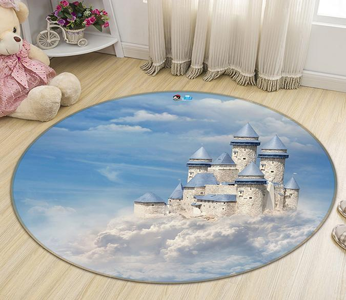 3D Castle In The Clouds 116 Round Non Slip Rug Mat