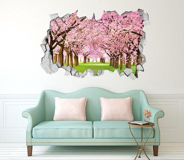 3D Flowering Trees 126 Broken Wall Murals