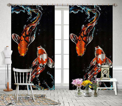 3D Swimming Fishes 2456 Curtains Drapes