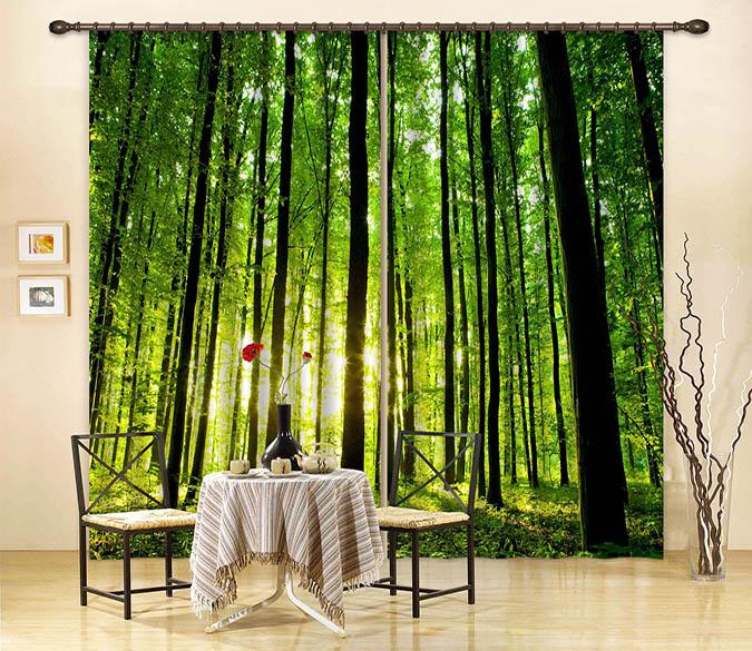 3D Forest Tall Trees 2235 Curtains Drapes