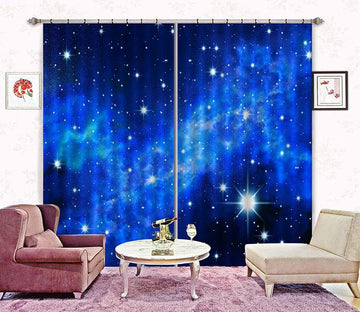 3D Blue Sky Shiny Stars 2231 Curtains Drapes Wallpaper AJ Wallpaper