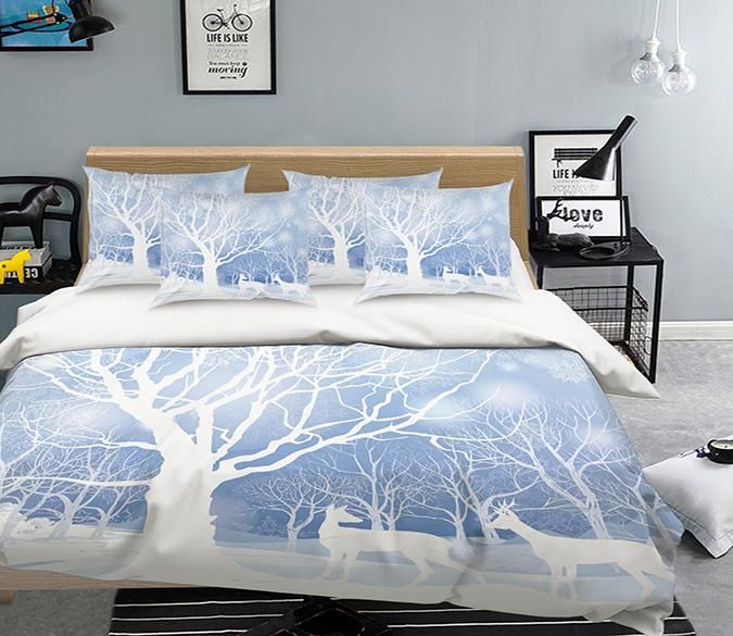 3D Bare Trees Animals 141 Bed Pillowcases Quilt