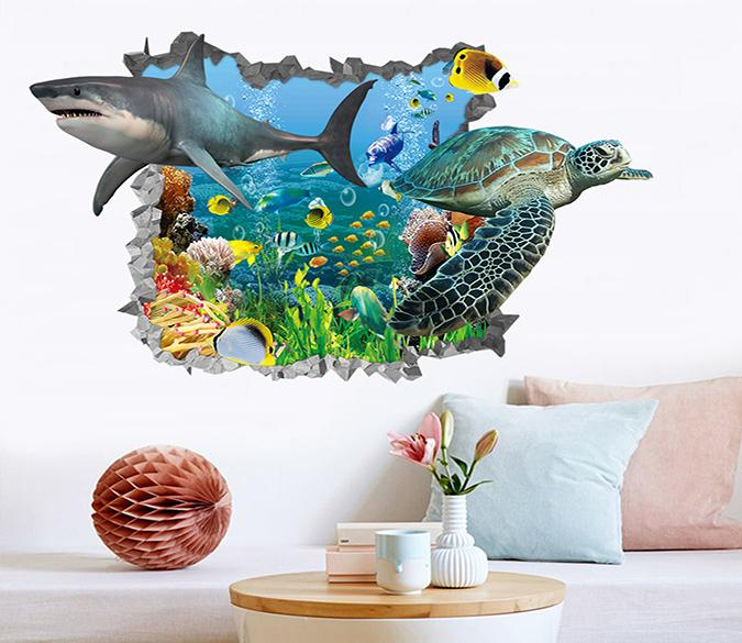 3D Ocean Shark And Turtle 184 Broken Wall Murals Wallpaper AJ Wallpaper