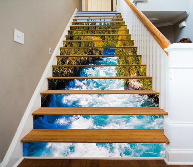 3d Forest Fast River 1261 Stair Risers