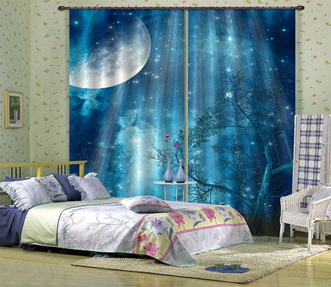 3D Shiny Stars Sky 2484 Curtains Drapes