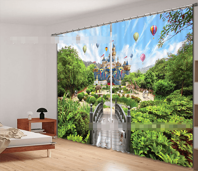 3D Beautiful Castle 2079 Curtains Drapes