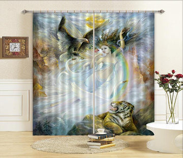 3D Animal Goddess 13 Curtains Drapes Wallpaper AJ Wallpaper