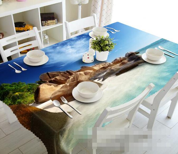 3D Beach Stones 1159 Tablecloths