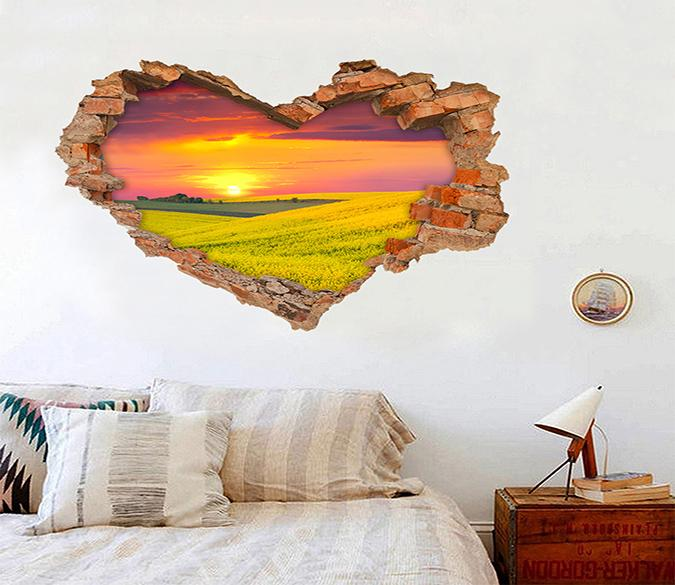 3D Flowers Field Sunset 211 Broken Wall Murals Wallpaper AJ Wallpaper
