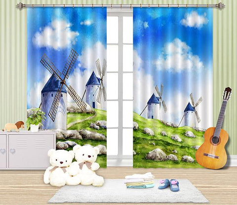 3D Windmills 2438 Curtains Drapes