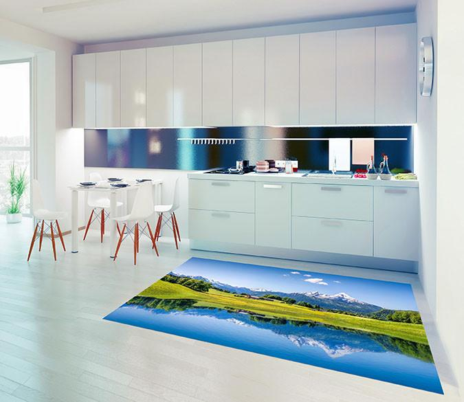 3D Alpine Lakeside Cottages Kitchen Mat Floor Mural