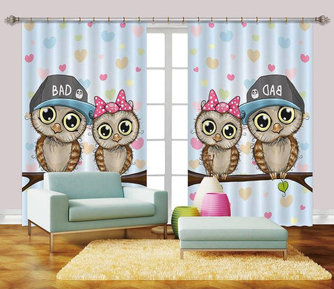 3D Cartoon Birds 2441 Curtains Drapes