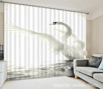3D Lake White Swan 1101 Curtains Drapes