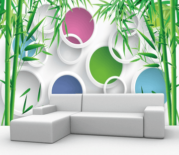 Bamboos And Colorful Circles Wallpaper AJ Wallpaper