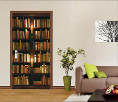 3D Bookshelf Candles 82 Door Mural