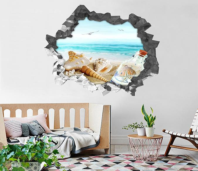 3D Beach Scenery 98 Broken Wall Murals