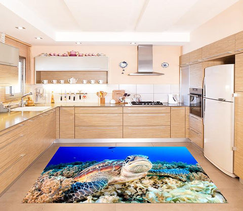 3D Seabed Turtle Kitchen Mat Floor Mural