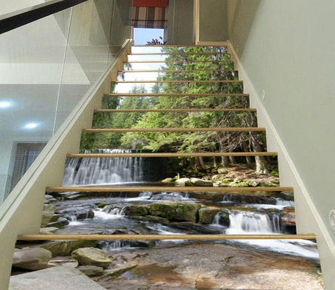 3D Forest River Waterfall 32 Stair Risers