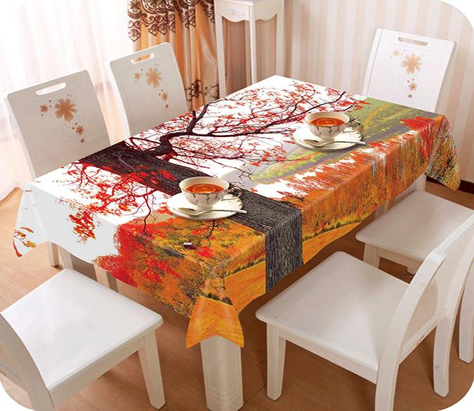 3D Autumn Forest River View 34 Tablecloths