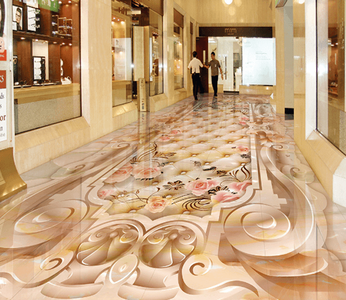 3D Pattern And Flowers Floor Mural - AJ Walls - 1