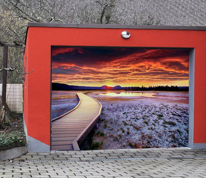 3D Lake Sunset 399 Garage Door Mural Wallpaper AJ Wallpaper