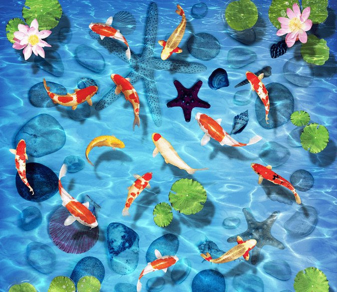 3D Clear Blue Water Floor Mural Wallpaper AJ Wallpaper 2