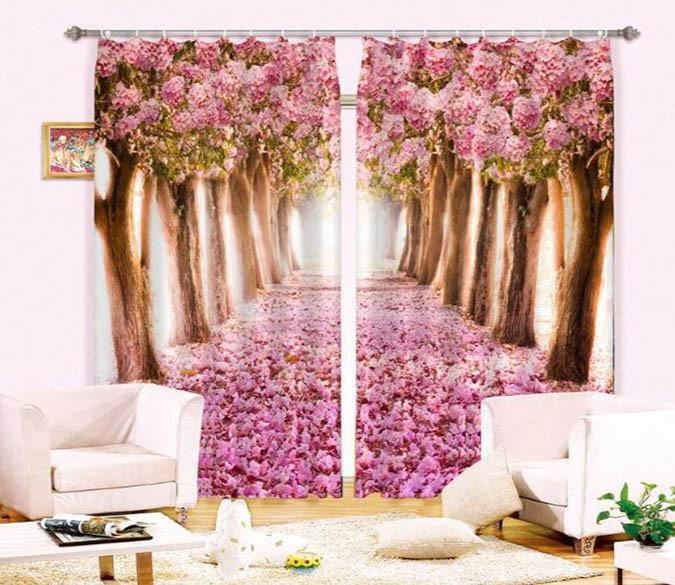 3D Road Flowers Trees 908 Curtains Drapes Wallpaper AJ Wallpaper