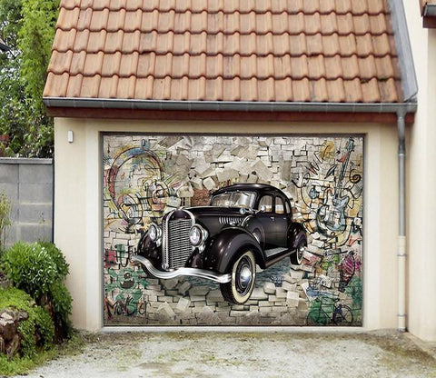 3D Bricks Graffiti Car 71 Garage Door Mural Part 87