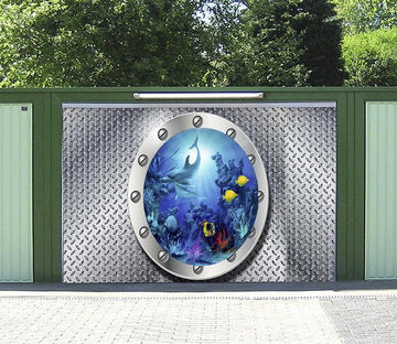 3D Metal Window Seabed World 02 Garage Door Mural