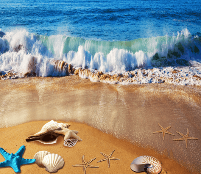 3D Beach Beautiful Wave Floor Mural - AJ Walls - 1
