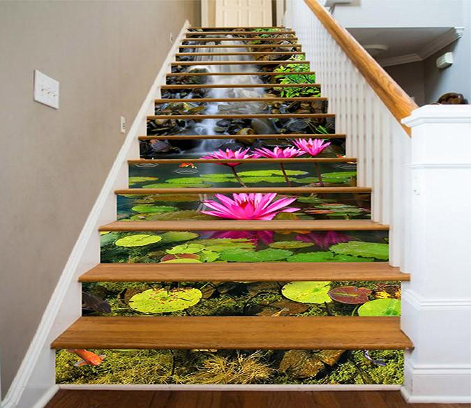 3D Beautiful Water Lily 1604 Stair Risers