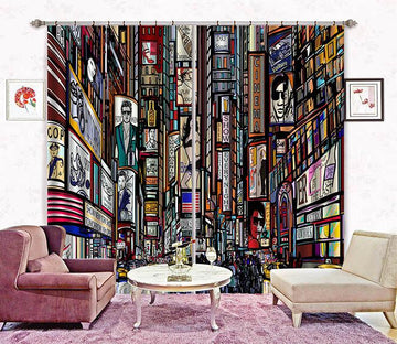 3D City Painting 2236 Curtains Drapes