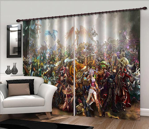 3D Crowded People 2463 Curtains Drapes