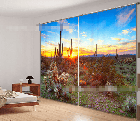 3D Wilderness Sunset 2154 Curtains Drapes