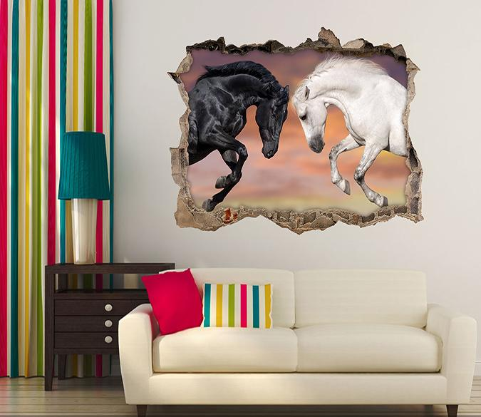 3D Black And White Horses 120 Broken Wall Murals