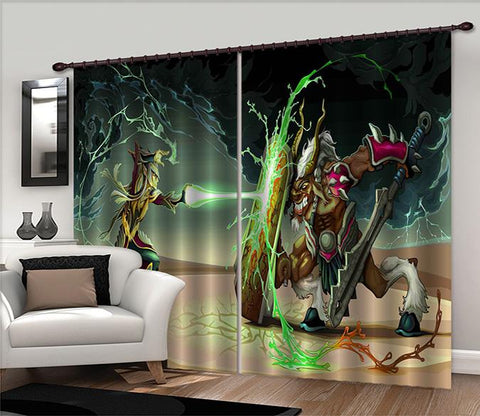 3D Monsters Battle 2455 Curtains Drapes
