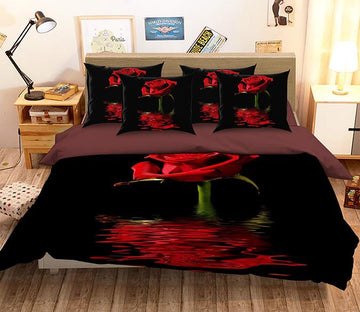 3D  Red Rose 136 Bed Pillowcases Quilt