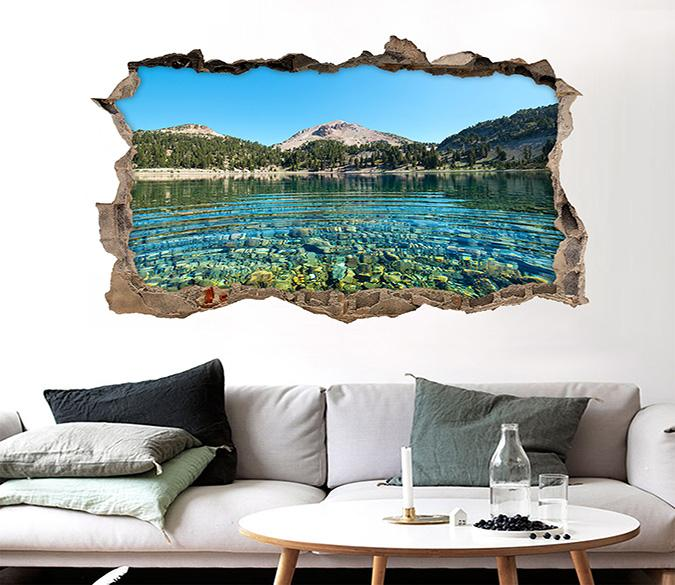 3D Clear Lake Scenery 324 Broken Wall Murals Wallpaper AJ Wallpaper