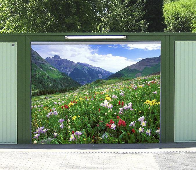 3D Mountain Flowers 115 Garage Door Mural