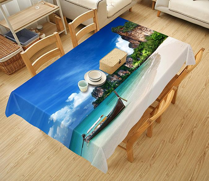3D Beach Coast Boat 744 Tablecloths