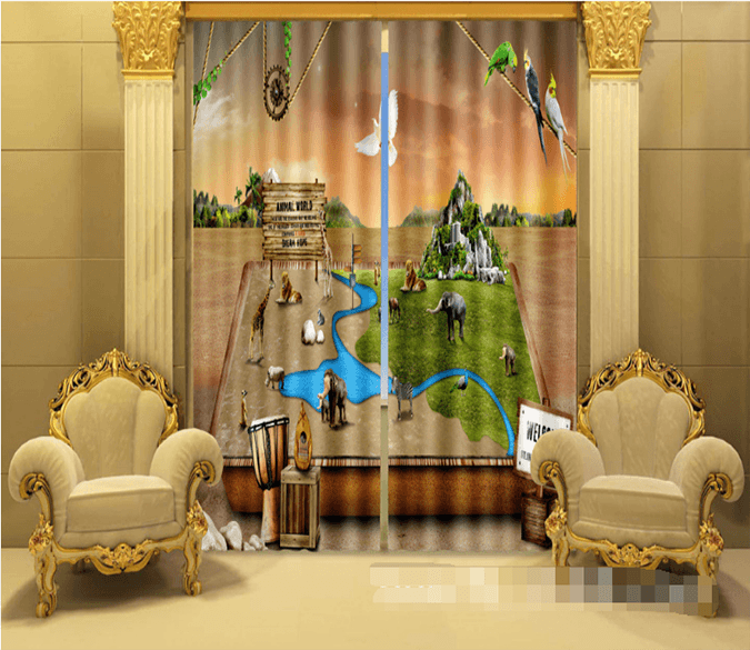3D Animals Zoo 1027 Curtains Drapes