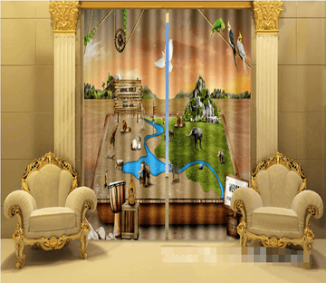 3D Animals Zoo 1027 Curtains Drapes Wallpaper AJ Wallpaper