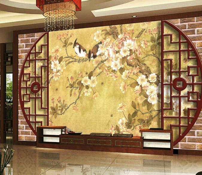 3D Classical Window And Flower Wallpaper AJ Wallpaper 1
