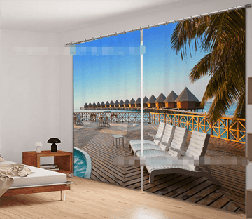 3D Balcony Sea Scenery 2173 Curtains Drapes Wallpaper AJ Wallpaper