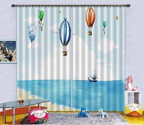 3D Sea Flying Balloons 2471 Curtains Drapes