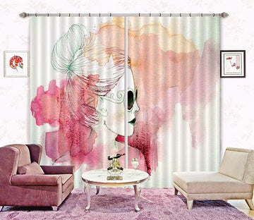 3D Watercolor Woman 24 Curtains Drapes